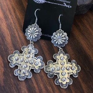 Jewelry - Burnished Silver Cross Earrings